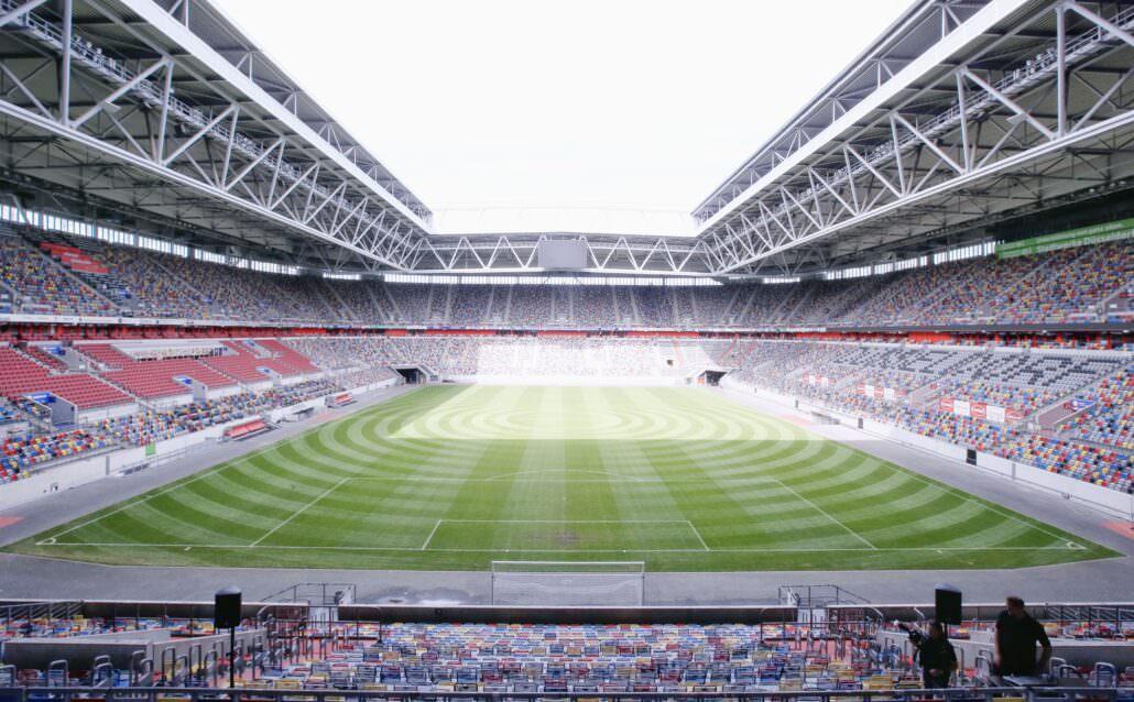 Stadionblick von Terrasse Tulip Inn Düsseldorf Arena